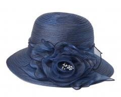 Foldable Sun Hat Elegant Organza  Beach Travel Hat Navy