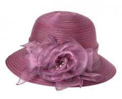 Foldable Sun Hat Elegant Organza  Beach Travel - Purple