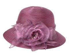 Foldable Sun Hat Elegant Organza  Beach Travel - Purple