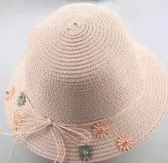 Child Straw Hat Summer Travel Flowers Girl Beach Hat, Pink