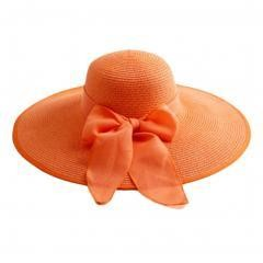 Collapsible Big Brim Sunhat Traveling Hat- Orange