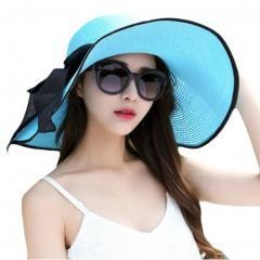 Collapsible Big Brim Sunhat Traveling Hat- Blue