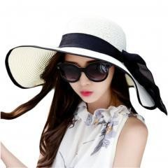 Collapsible Big Brim Sunhat Traveling Hat- bl&wh