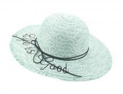 Bold Cursive Embroidered Straw Hat Raffia Straw Edged Hats, white