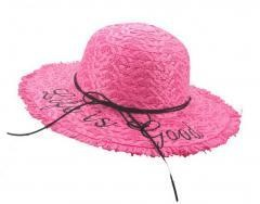 Bold Cursive Embroidered Straw Hat Raffia Straw Edged Hats, Pink