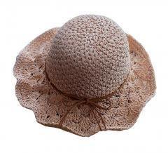 Straw Hat Beach Wide Brim Bucket Hat~Pink