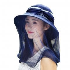 Sunscreen Hat Beach Veil Sunhat For Women~Blue