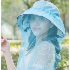 Sunscreen Hat Beach Veil Sunhat For Women~Sky Blue
