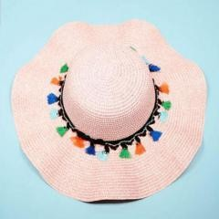 Sunscreen Comfortable Fit Straw Hat Travel Beach~Pink