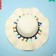 Sunscreen Comfortable Fit Straw Hat Travel Beach~Cream