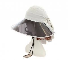 Sun Protection Hat with PVC Visor, Boonie Hat White