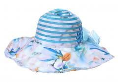 Wide Brim Sun Hat Sun Blue Stripes & Flowers
