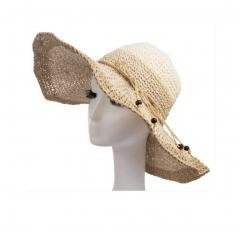Wide Brim Straw Beach Sun Hat (Apricot Cream-color)