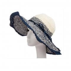 Wide Brim Straw Beach Sun Hat (Blue Cream-color)