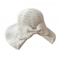 Women's Foldable Bucket Wide Brim Bowknot Straw Hat (White)