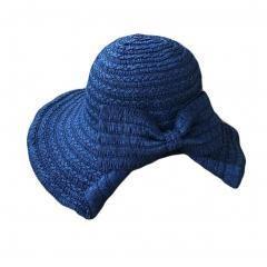 Women's Foldable Bucket Wide Brim Bowknot Straw Hat (Blue)