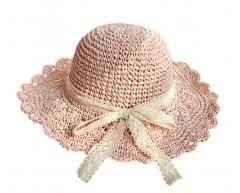 Lace Bowknot Straw Hat Summer Foldable Large Sun Hat-pink