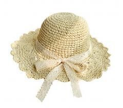 Lace Bowknot Straw Hat Summer Foldable Large Sun Hat-Cream