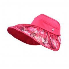 Women's Empty Top Hat Wide Brim Sun Hat Cycling Cap, Red