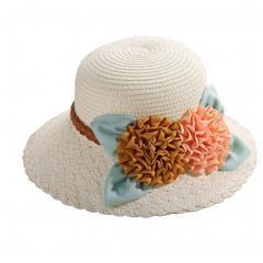 Two Flowers Women's/Girl's Straw Sun Hat White