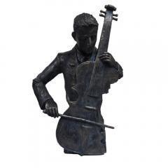 Violin Player Statue Sculpture in Patina Black Finish