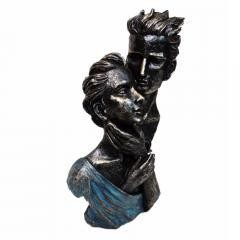 Romantic Couple Bust Sculpture in Patina Black Finish