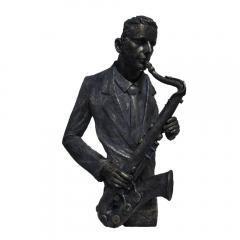 Saxophone Player Statue Sculpture in Patina Black Finish
