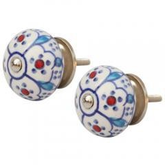 Hand Painted Round Ceramic Knobs, Set Of Two, Multicolor