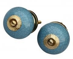 Beautiful Ceramic Knobs With Crackle Design, Blue, Set Of Two
