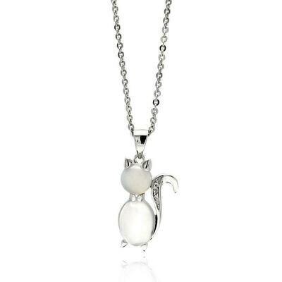 Brass Cubic Zirconia Cat Pendant Necklace 16