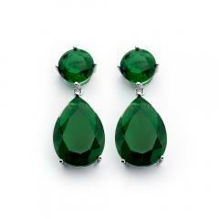 .925 Sterling Silver  Round Teardrop Green Emerald Zirconia Dangling Earring