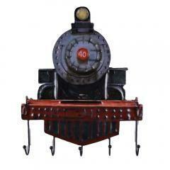 Rustic Rail Engine Wall Hooks Decorative Train