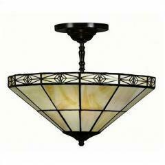 Tiffany-style Geometric Mission-style Hanging Lamp