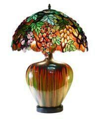 Tiffany Style Grape Lamp With Ceramic Base
