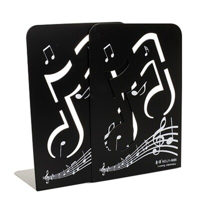 Fashion Nonskid Black Music Notes Bookends
