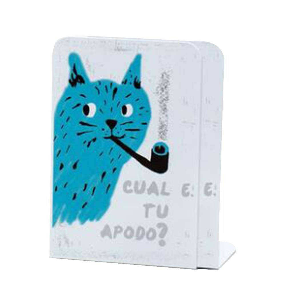 Blue Cat Desktop Book Holder Metal Book Stand Bookends