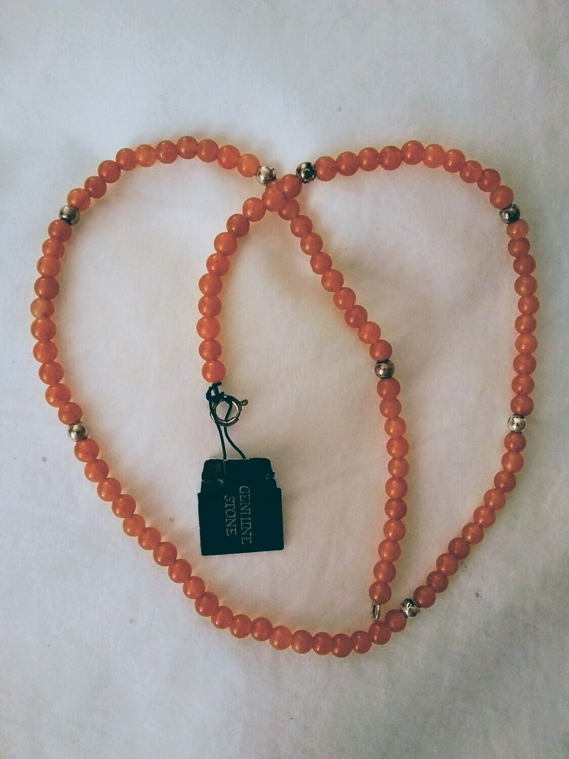 "16"" Orange Jade and Sterling Silver beaded Necklace"