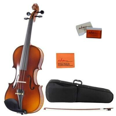 4/4 Full Size Ebony Fitted Solid Wood Starter Violin Outfit for Beginners, Natural