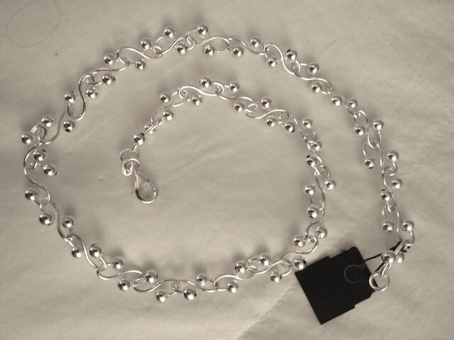 "Sterling Silver 16"" Necklace - Unusual Link"