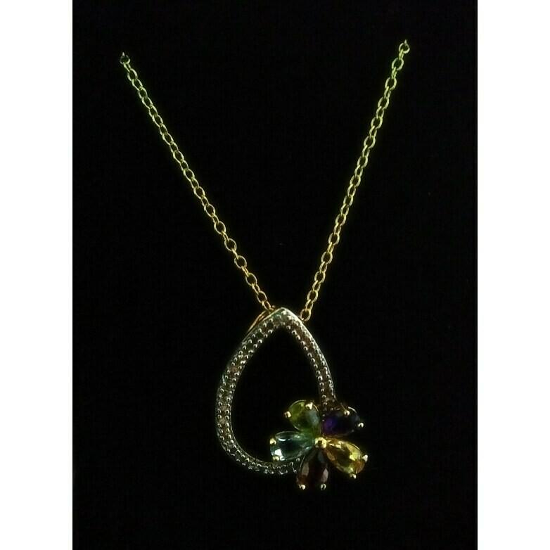 """18k Gold Over Sterling Silver~Real Gemstones~18"""""""