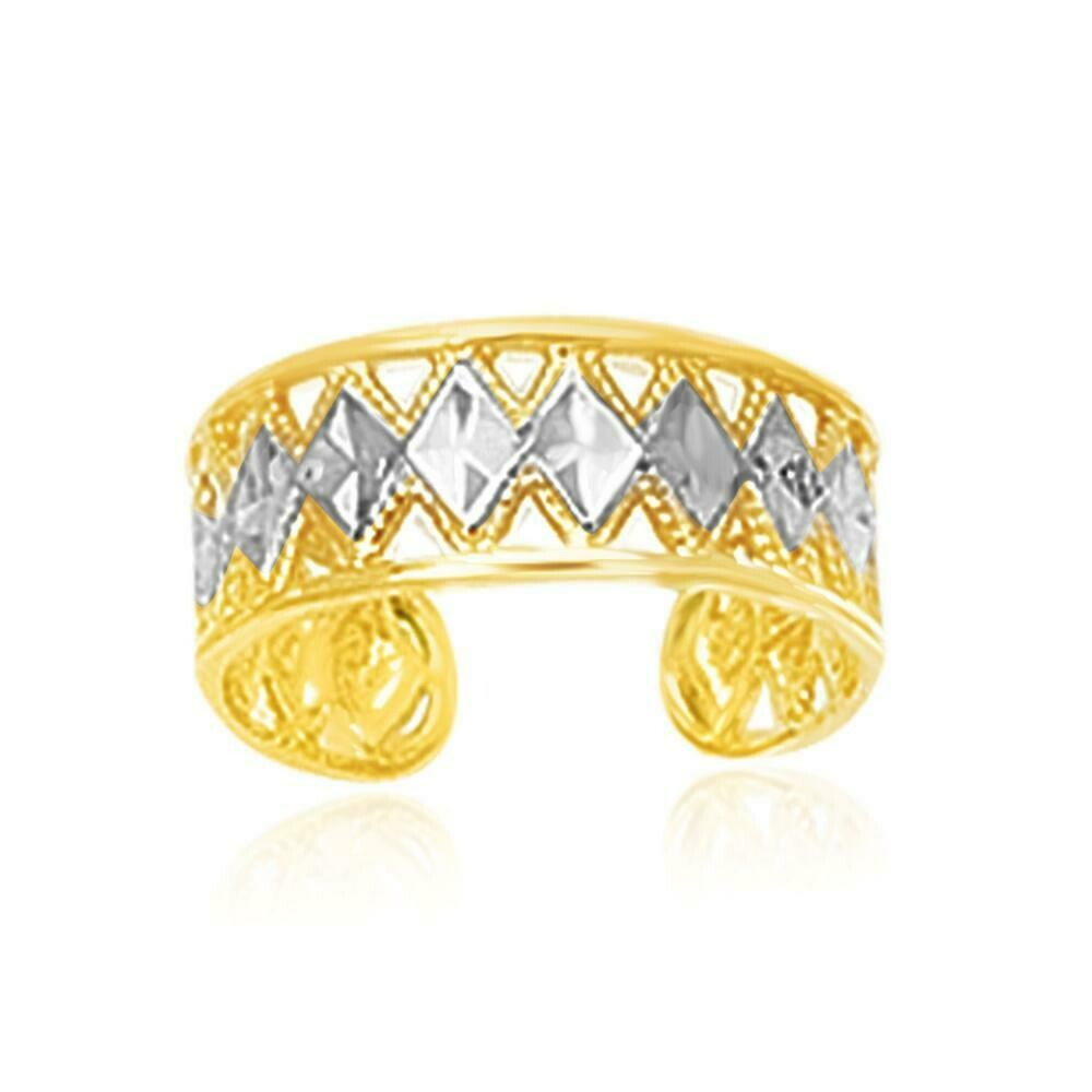 14k Two-Tone Gold Cuff Type Cut-Out Toe Ring with Diamond Design