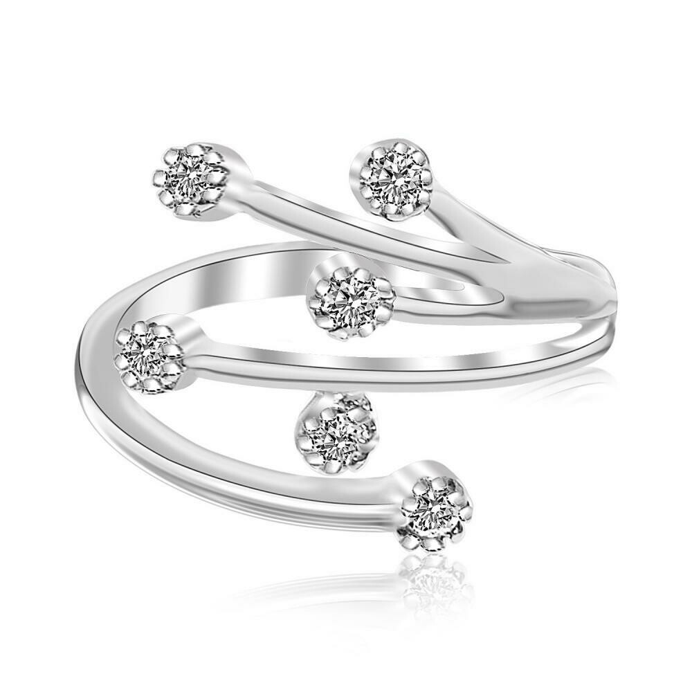 Sterling Silver Rhodium Finished White Cubic Zirconia Embellished Toe Ring
