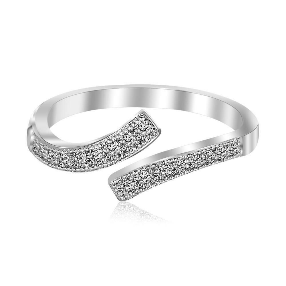 Ssterling Silver Rhodium Plated White Cubic Zirconia Overlap Toe Ring