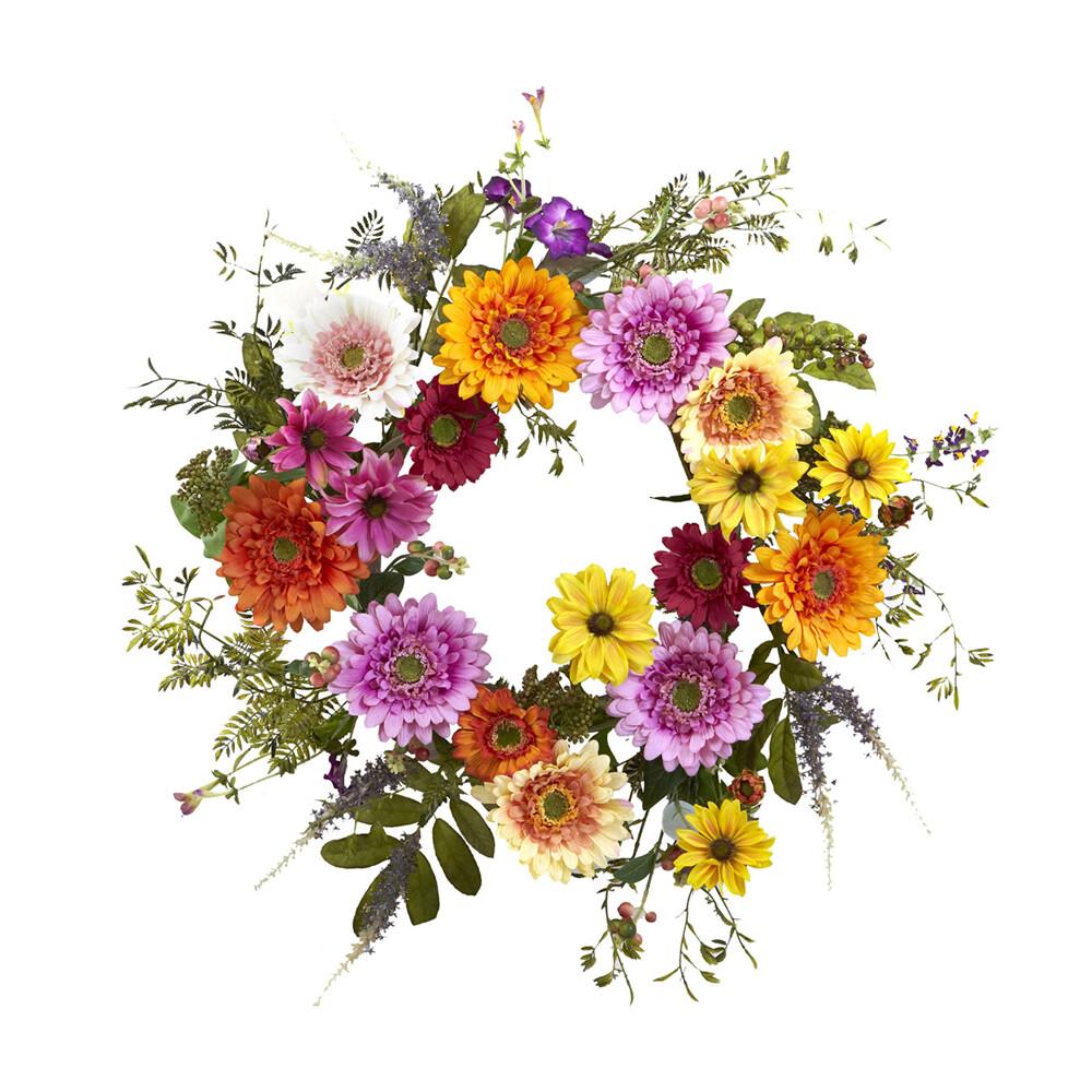 Colorful Multi-Flower Wreath Home Garden