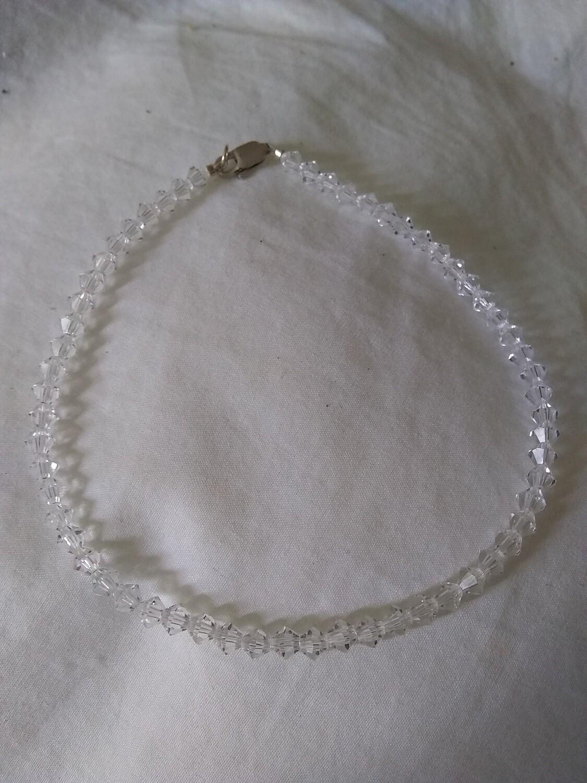 "Clear Austrian Crystal Handmade Bracelet~ Sterling Silver Clasp 9"""