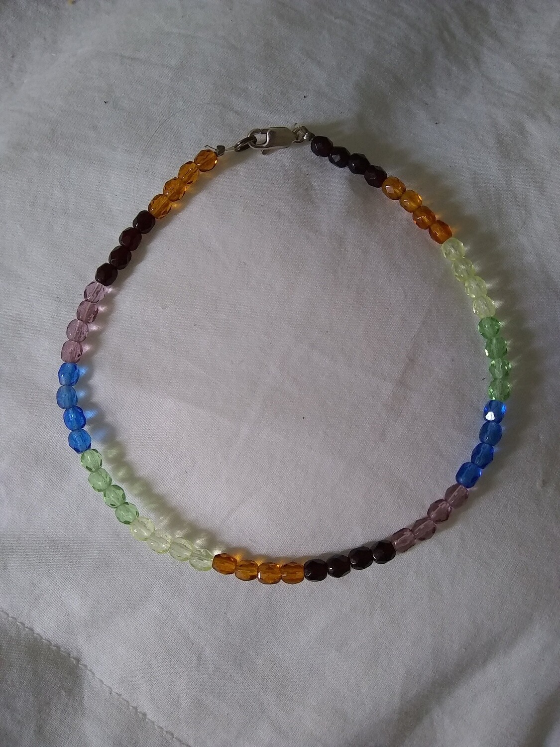 "Gemstones Beads Handmade 9.5"" Anklet~ Sterling Silver Clasp"