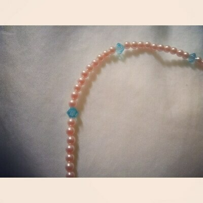 Blue Austrian Crystal and Pink Beads Anklet 925 Sterling Clasp 9.5