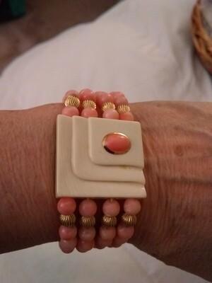 Vintage Ivory, Coral and 14k Gold Bracelet