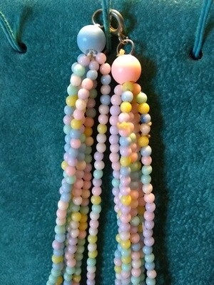 Vintage Jewelry~5 Pastel Colors Beaded 6 Strand Necklace~24