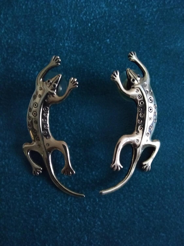 Vtg Lauel Birch Gold Tone Lizard Pierced Earrings.
